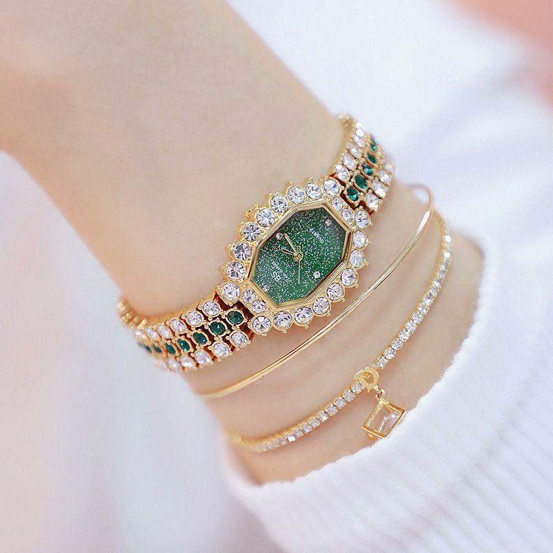 Lüks Kadınlar Saatler Elmas Ünlü Marka Şık Elbise Kuvars Saatler Bayanlar Yapay elmas Kol relógios Femininos