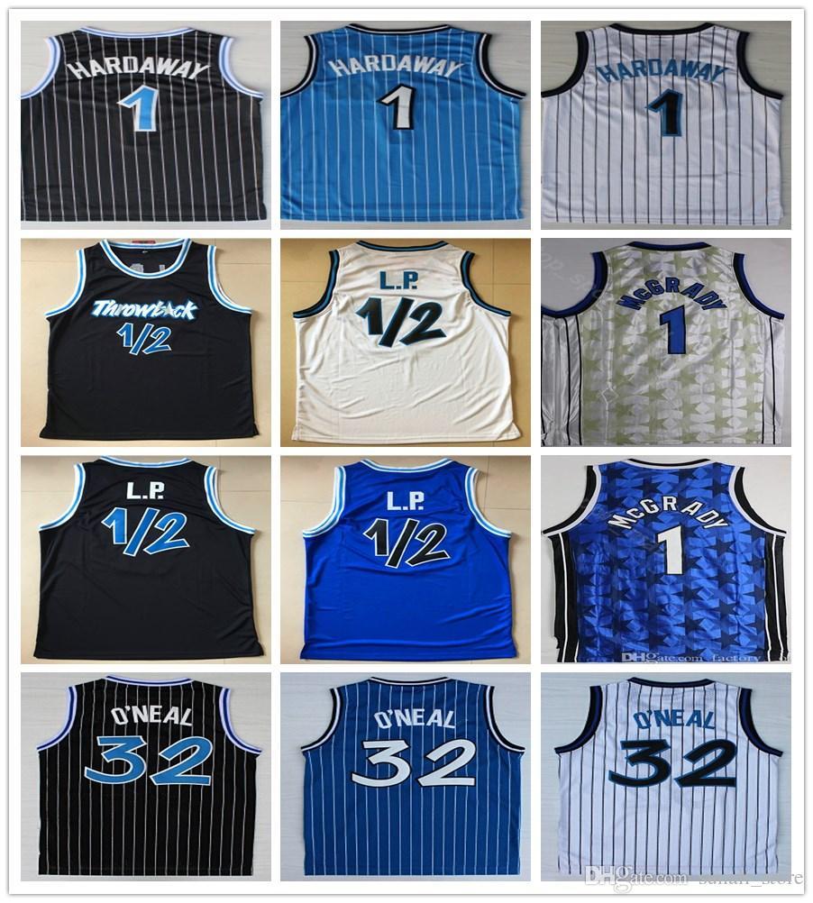 أولد ستايل تي شيرت بيني 1 هارداواي جيرسي 1/2 LP أزرق أبيض أسود اللون كرة السلة شاكيل 32 اونيل أو نيل قمصان