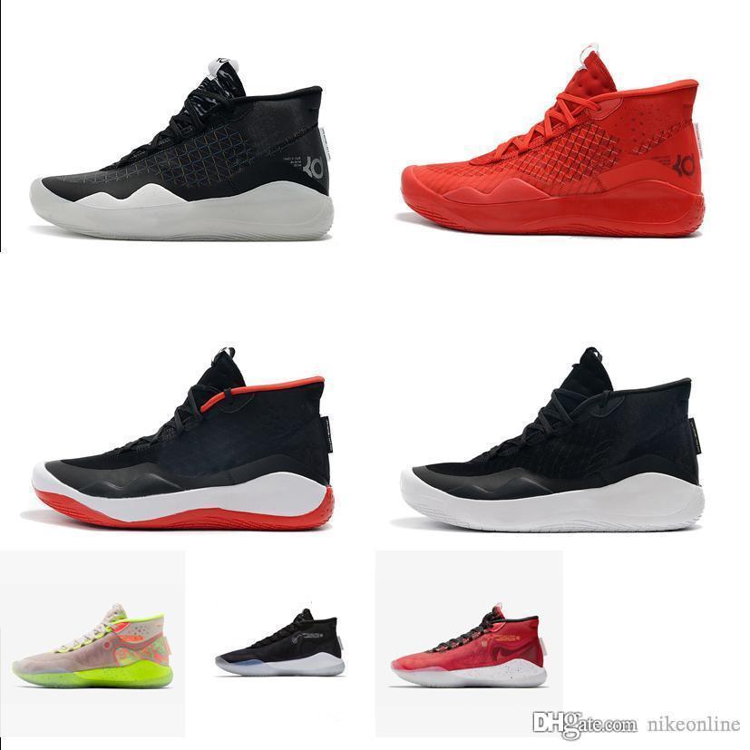 الرجال رخيصة دينار 12 أحذية كرة السلة أسود أبيض الذهب والفضة الفريق الأحمر الوردي Easters الاطفال kd12 كيفن دورانت 12S أحذية رياضية خفيفة مع مربع