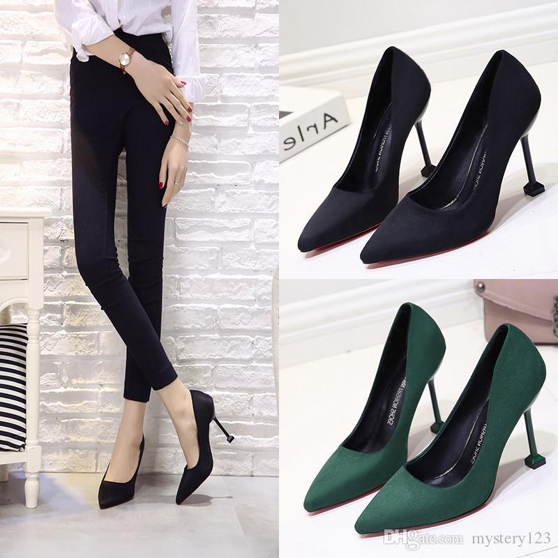 Zapatos de novia de mujer Zapatos de tacón alto de ante de gamuza alta Zapatos de mujer Zapatos de barco Zapatos de oficina para mujer 10 CM