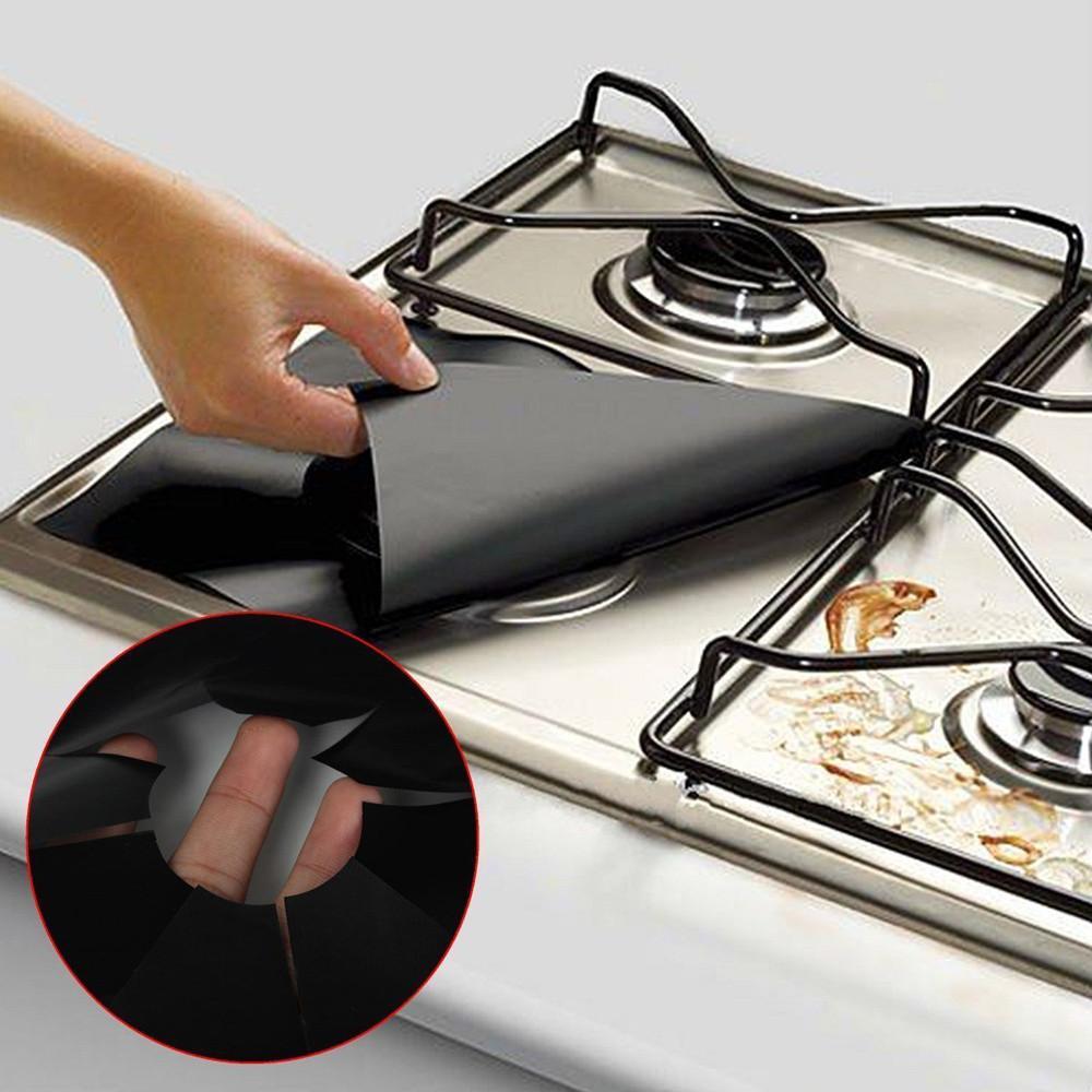 4 قطع واقيات الغاز حامي ورقة مربع مقاومة للحرارة الموقد طباخ حامي قابل للغسل reusable وسادة 27 * 27 سنتيمتر اكسسوارات المطبخ