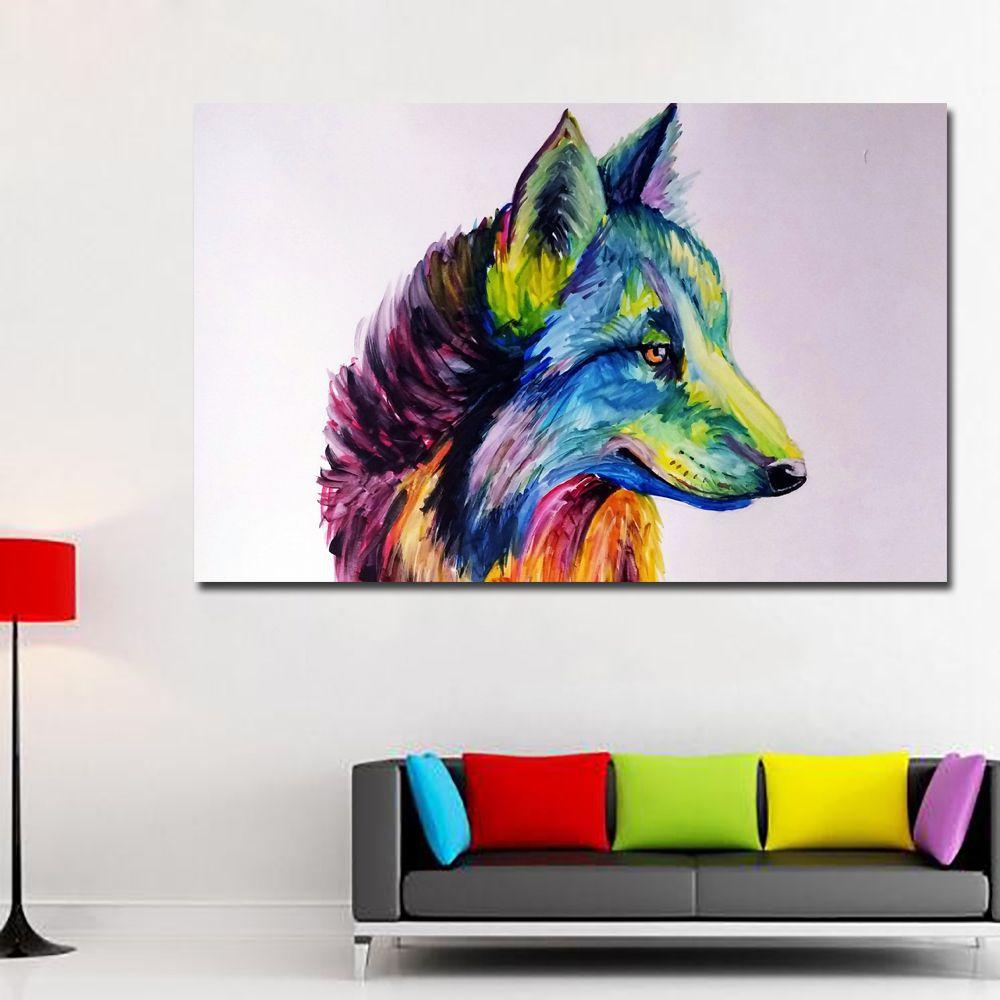 1 Pièce Coloré Tête De Loup Peinture Mur Art Impressions Toile Peinture Décoration Pour Salon Impression Affiche No Frame