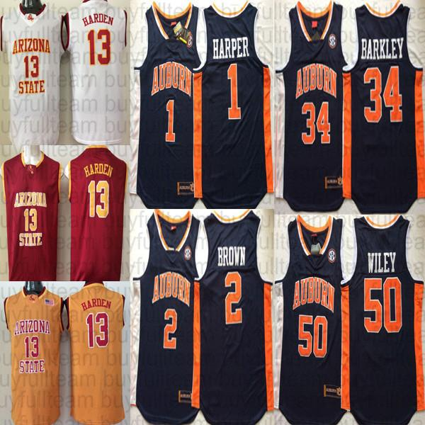 2019 Jared Harper Bryce Brown Charles Barkley Austin Wiley Auburn Tigers Ncaa James Harden Arizona State Sun Devils College Basketball Jerseys From