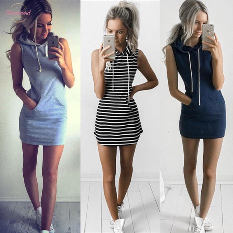 Été Sweat Casual manches 2020 Vêtements pour femmes à capuchon Col de poche simple à cordonnet Party Mini Tank Dress