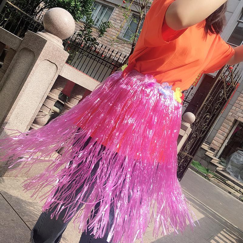 Plastica multicolore Hulaormance Costumi ventilatori incoraggiano accessori Dress bambini fino Festival pannello esterno della festa popolare hawaiana Danza puntelli gioco Perf