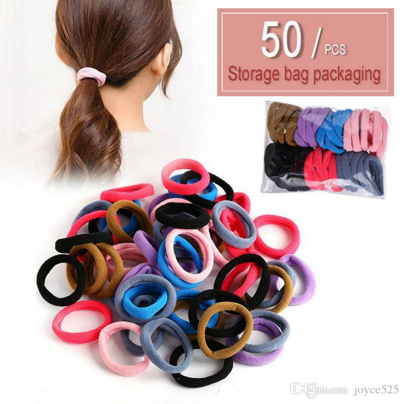 50PCS Hair Ropes Nylon Elastic Hair Rings Hairband Accessories Solid Tied Hair