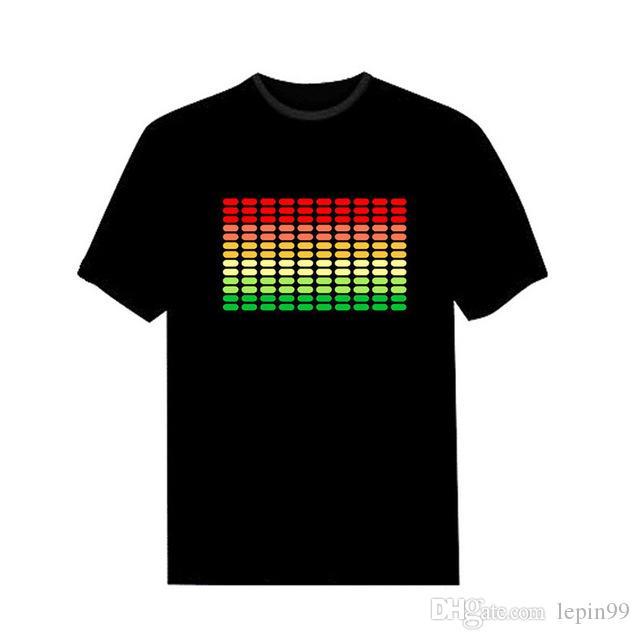 Neue Verkauf Sound Aktiviert Led T-shirt Auf Und Ab Blinkende Equalizer Musik Aktiviert Elt-Shirt Unisex Für Hot Rock Disco Party Dj