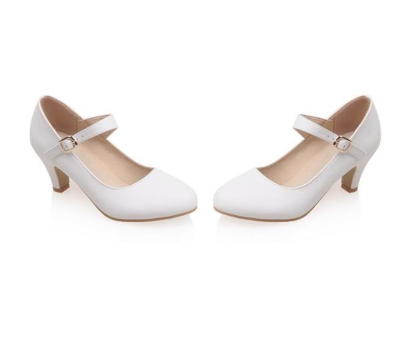 2020 весна и осень с новым стилем моды средний каблук грубый каблук круглая головка Женская обувь@MQWBH748