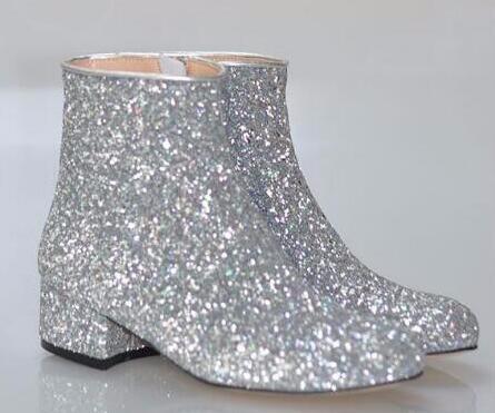 Caliente de la venta de T-etapa talones del brillo de las mujeres cargadores del tobillo cuadrados brillante de los botines del otoño Invierno Femenino Botas Zapatos de oro de plata rojos de la mujer