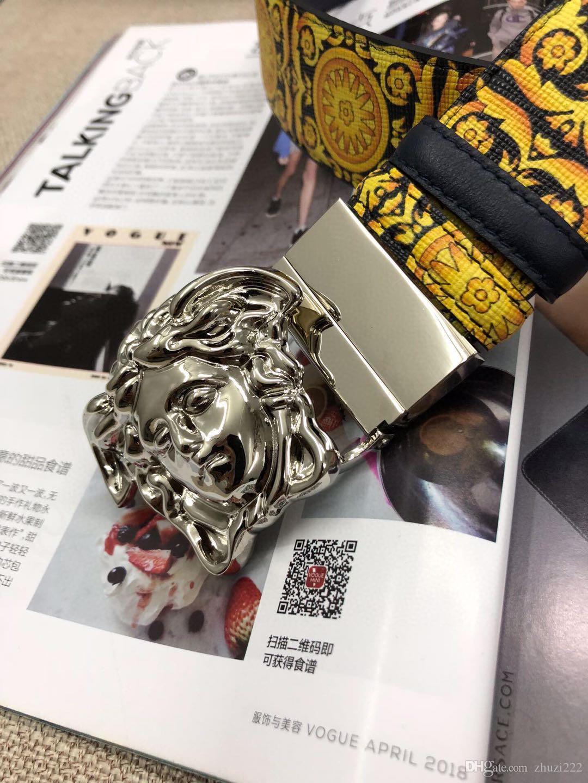6666447New Mode Herren Business Gürtel Snake Schwarz und Grün Ceinture Automatische Buckle Echtes Leder Gürtel für Männer Taillengürtel für Frauen