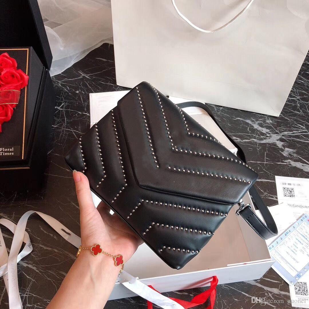 Marken-Handtaschen-Weinlese-Kettenbeutel-Rindleder-Y-Muster-Schulter-Geldbeutelgröße der Spitzen-2019 berühmte heiße Verkäufe