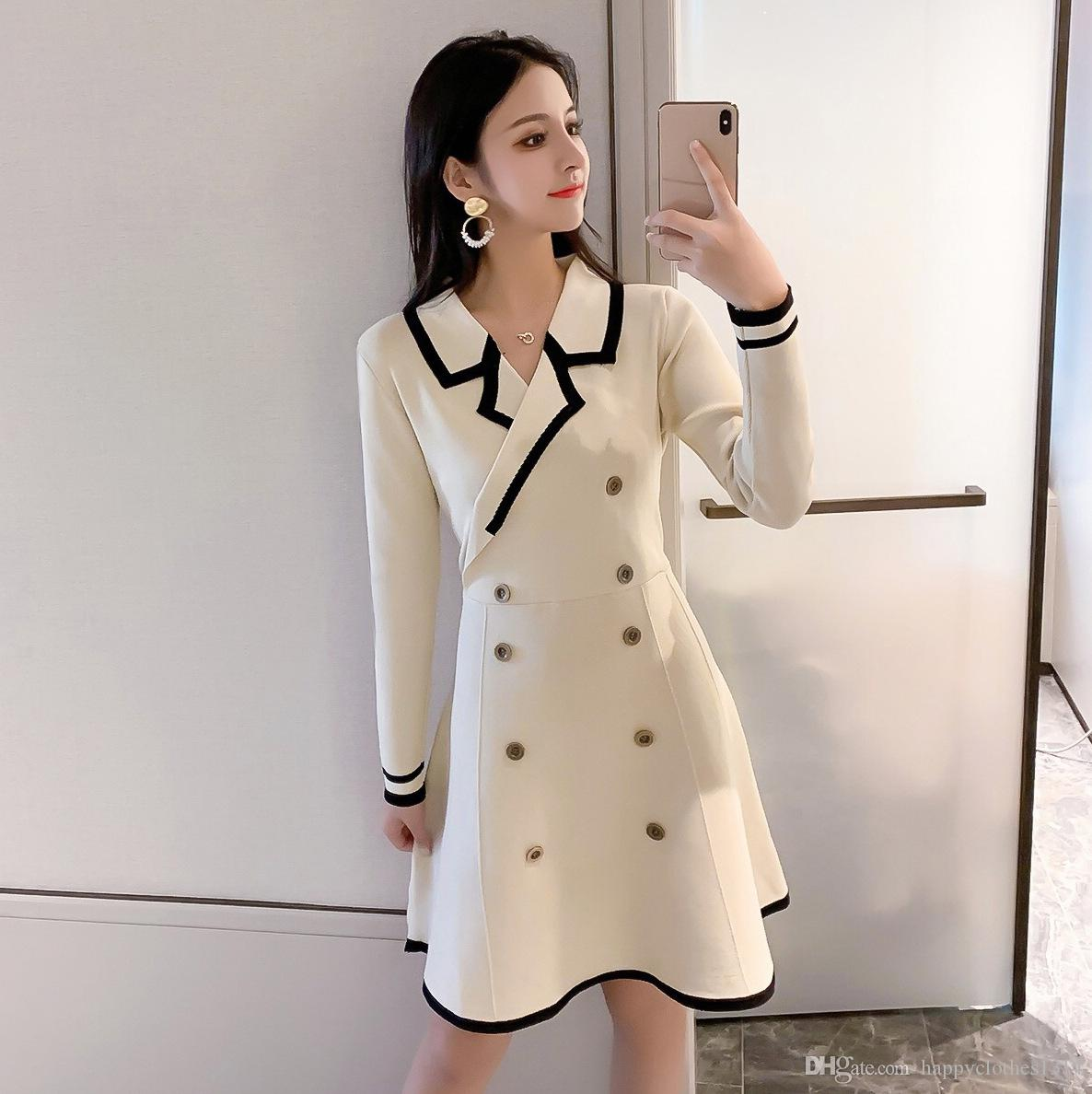 Luxury Winter Coat Double Breasted Blazer Dress Woman Spring Warm Knitted Dress Office Business Lady Slim Bodycon Trench Style Dresses