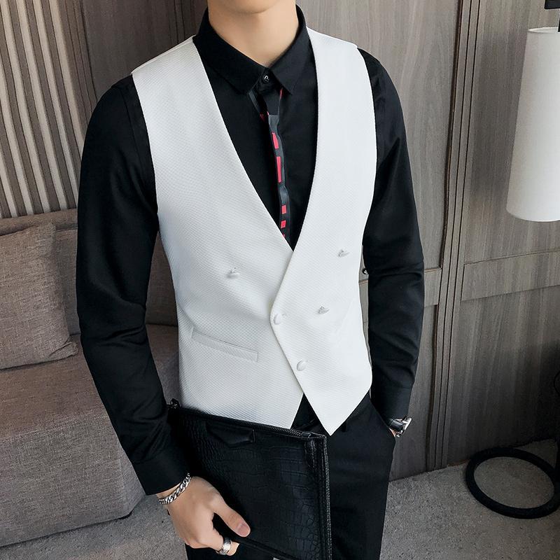 Chaleco de los hombres de doble botonadura Blanco Rojo Negro Traje Chaleco Vestido Slim Fit Profundo Cuello en V Classic weste Evening Wedding Gilet Hombre