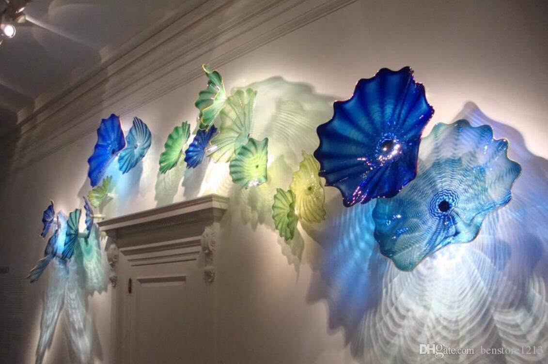 OEM 입 블로운 붕규산 램프 아트 플레이트 공예 홈 벽 장식 세련된 유리 잎 플레이트
