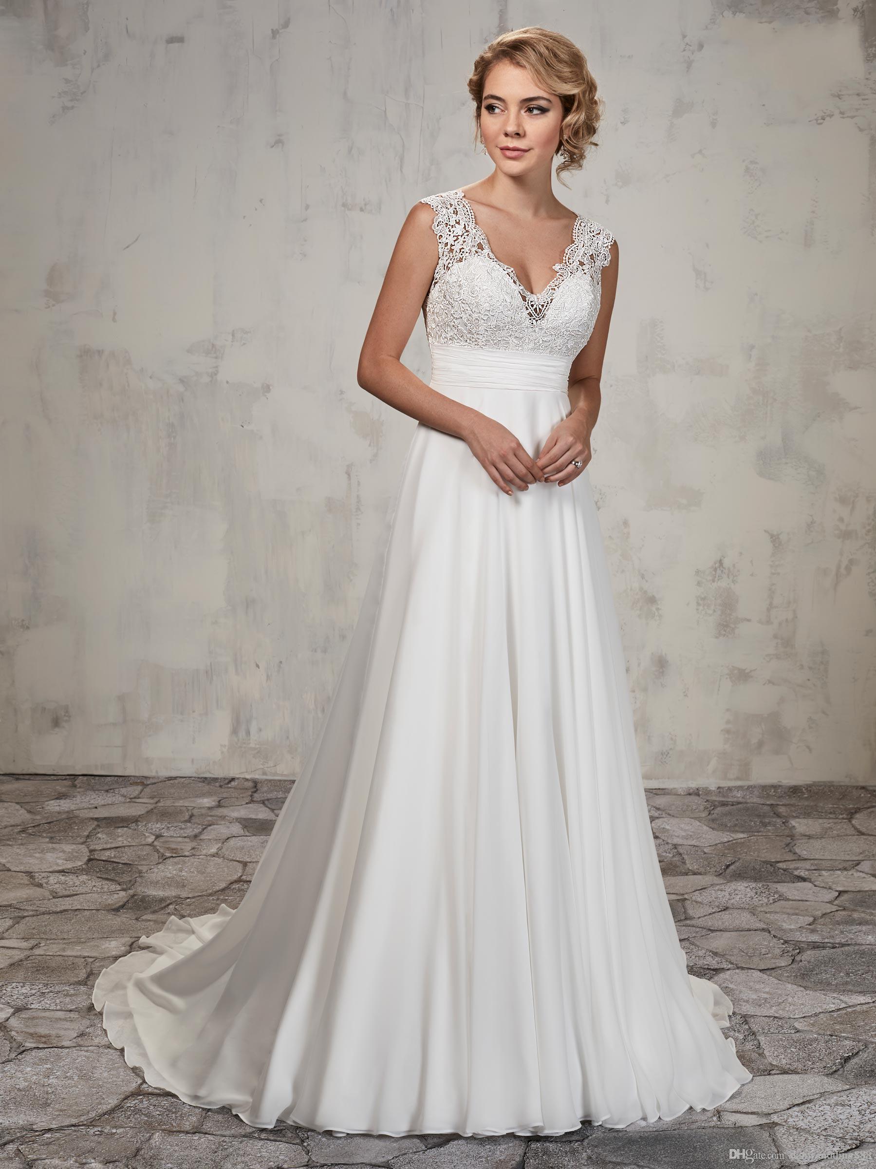 Acontecimientos de la boda de la belleza de Marfil gasa con cuello en V apliques vaina boda vestidos de novia vestidos vestidos de fiesta de encargo del tamaño 2-18 D8W089