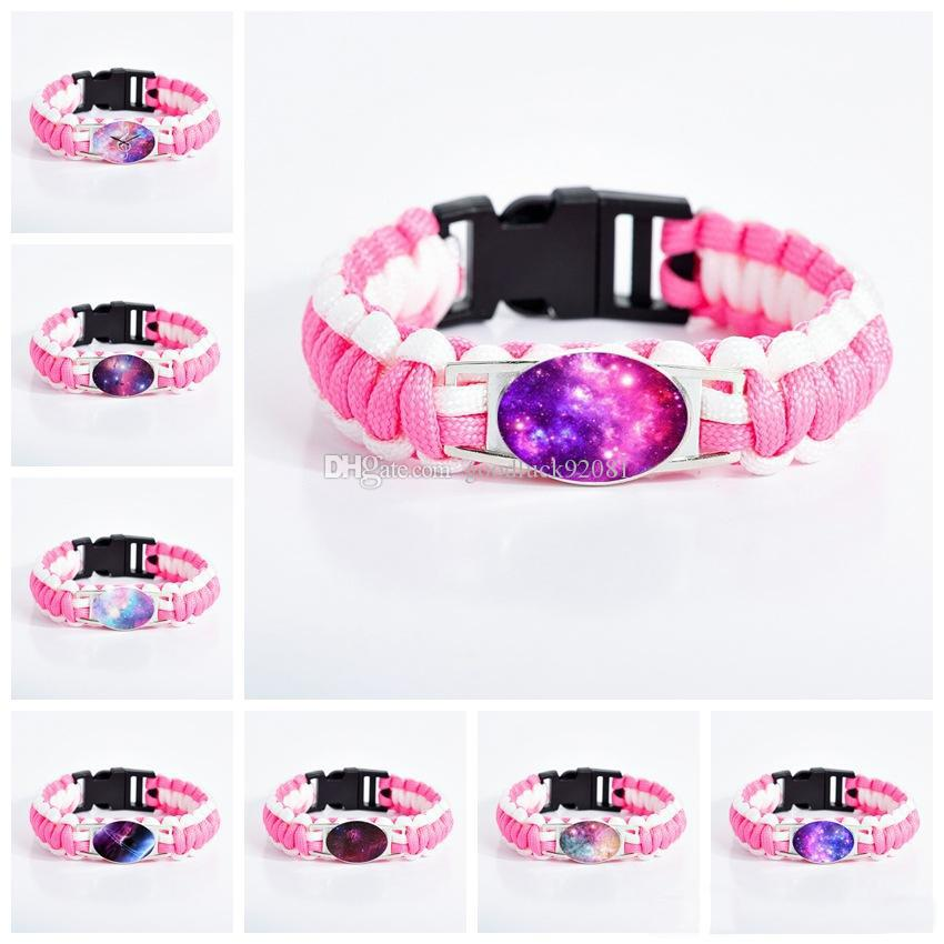 Nebula Space Galaxy Charm bracelets For women Glass Cabochon Star Moon Universe Starry Pink rope Wrap Bangle Fashion Jewelry