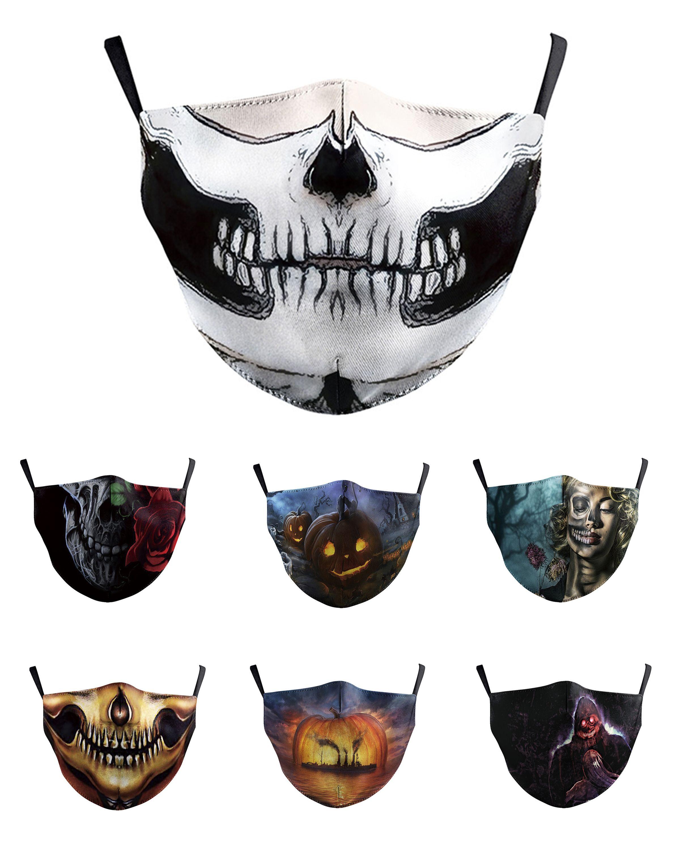 Waschbare Schädel Joker-Gesichtsmaske mit Filter Digital Printing Mask Adult Respirator Halloween Kürbis Schädel Schutz Cotton Mask