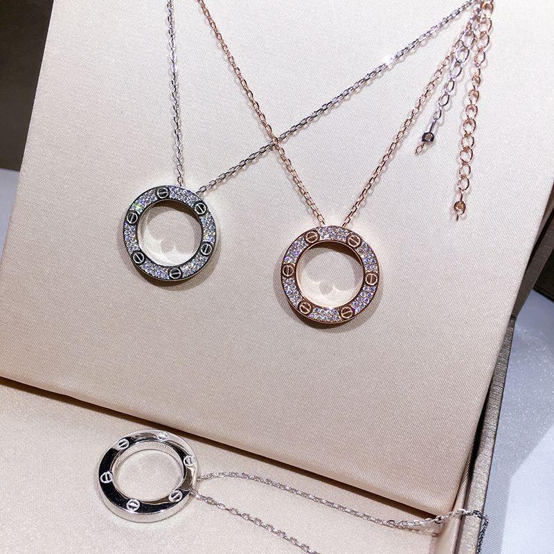 Brand Classic Love Screw Necklace High Quality Titanium Inlaid Austria Crystal Pendant Necklace Fashion Women's Jewelry