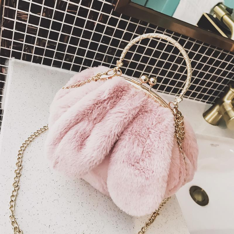 Free2019 Woman Ears Package Lovely Soft Sprout Slant Portable Small Circle Bag Mouth Chain Hair