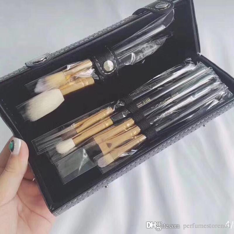 Acheter Mac 9 Pieces Pinceau De Maquillage Boite De Rangement En Cuir 3 Compartiments Petit Miroir Ombre A Paupieres En Poudre Sourcils Pinceau Fond De Teint Poudre Pas De Bonne Qualite De