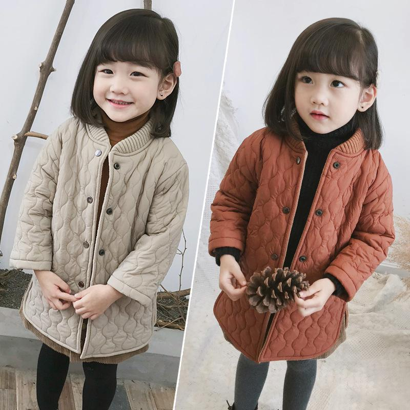 2018 Winter Wear New Boys and Girls Medium Long Jackets Children Cotton Padded Windbreaker Coat Toddler Kids Thickened Clothes