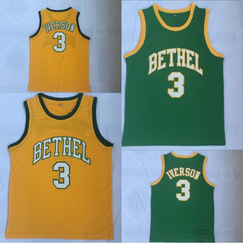 Allen Iverson # 3 Bethel High School camisa de basquete High Quanlity poliéster duplo Stiched amarelo verde em estoque