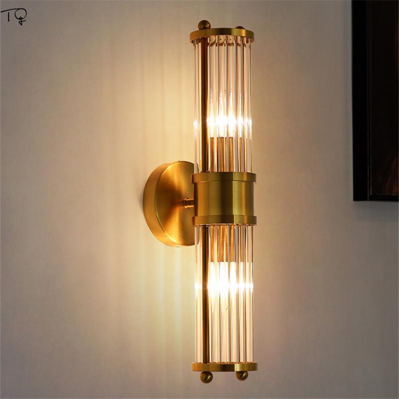 Americana simple brillo del cristal lámpara de pared Led maquillaje espejo luz delantera Baño Cocina Sala de estar cabecera del dormitorio del pasillo