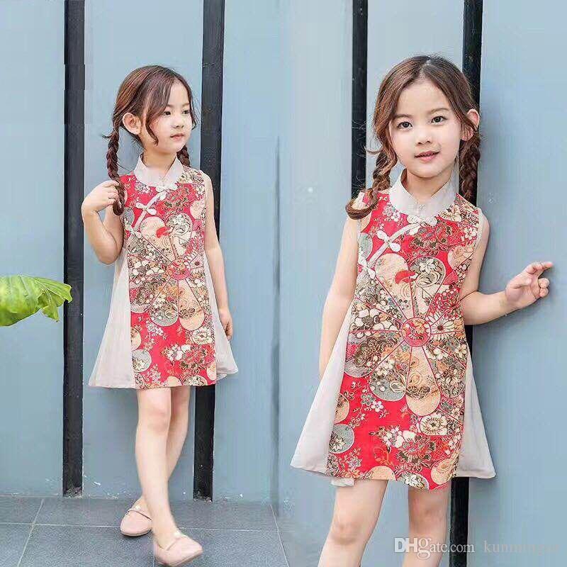 2019 primavera e verão novo retro crianças pano moda seda estilo chinês menina vestido