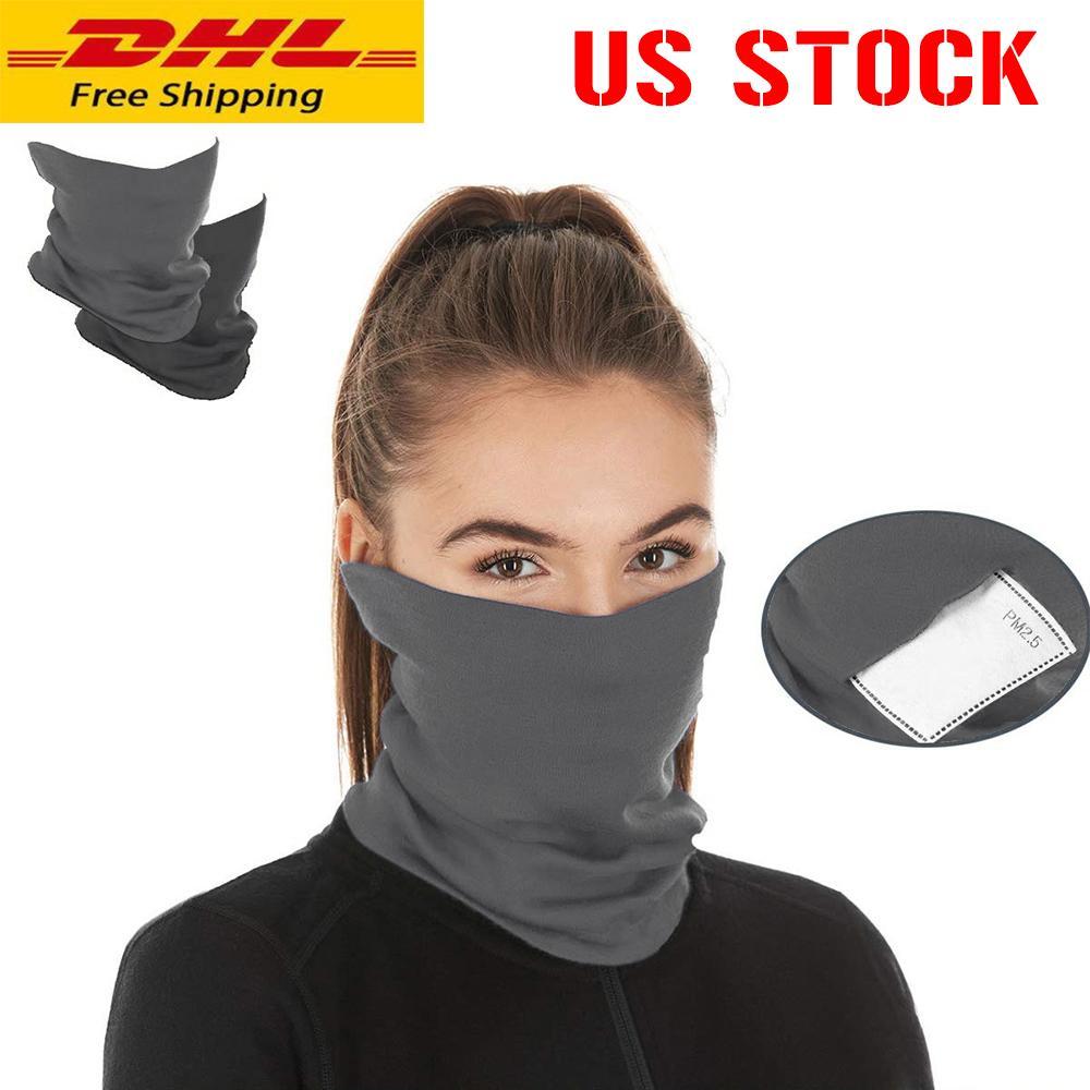 Stati Uniti Stock! Colori nuova sciarpa Bandane filtro in bicicletta Maschera Buff con Safety PM 2,5 Filtri maschera di protezione copertura di modo antivento Sciarpe