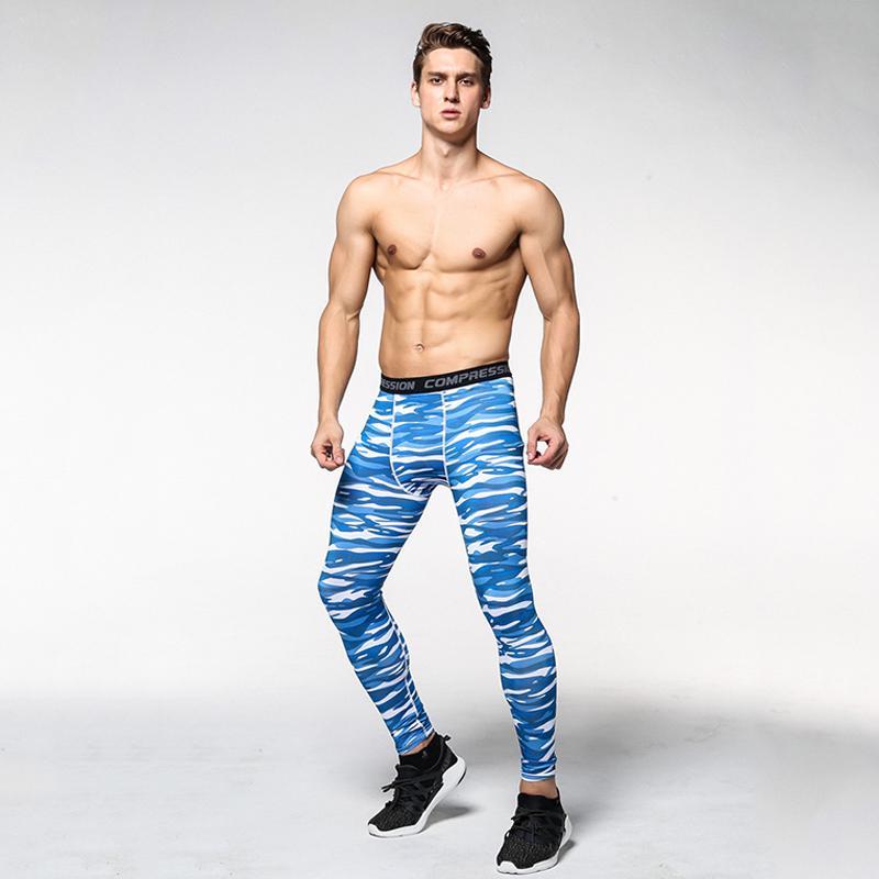 1 шт новый полиэфирный материал мужские узкие брюки Jogger компрессионный пот быстро сухой дышащий мужские узкие леггинсы камуфляжные брюки