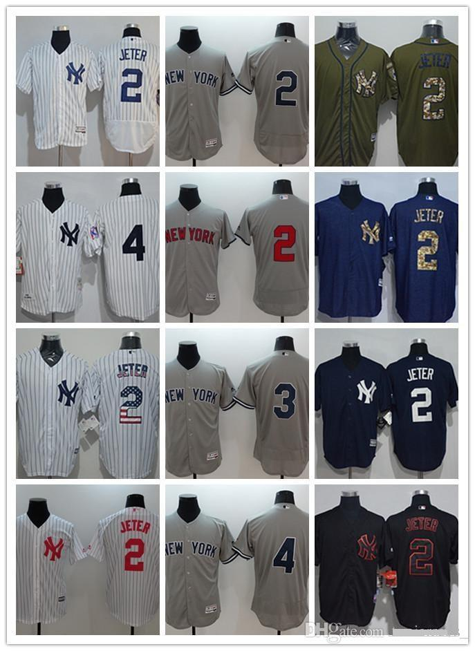 사용자 정의 남성 여성 청소년 뉴욕 양키스 유니폼 # 8 요기 베라 5 조 디마지오 4 루게릭 3 베이브 루스 2 데릭 지터 검정 흰색 야구 유니폼