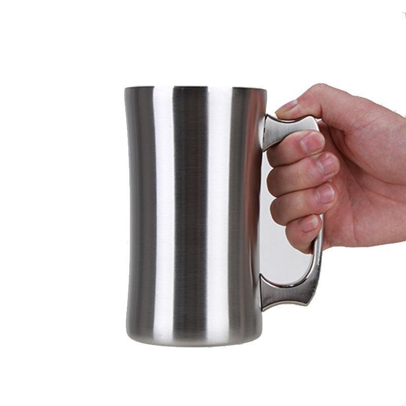 20 Unzen Edelstahl Bierkrug mit Griff doppelwandige vakuumisolierten W8399 großer Kapazität Kaffeetasse Cocktail kalt cup