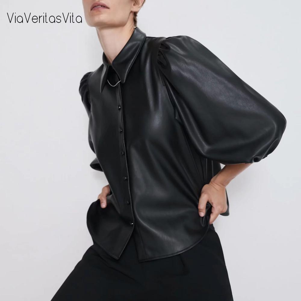 Nuovo design ZA PU ecopelle Womens Camicette Camicie soffio autunno maniche Womens top e camicette streetwear coreano Camisa Blusas T200321