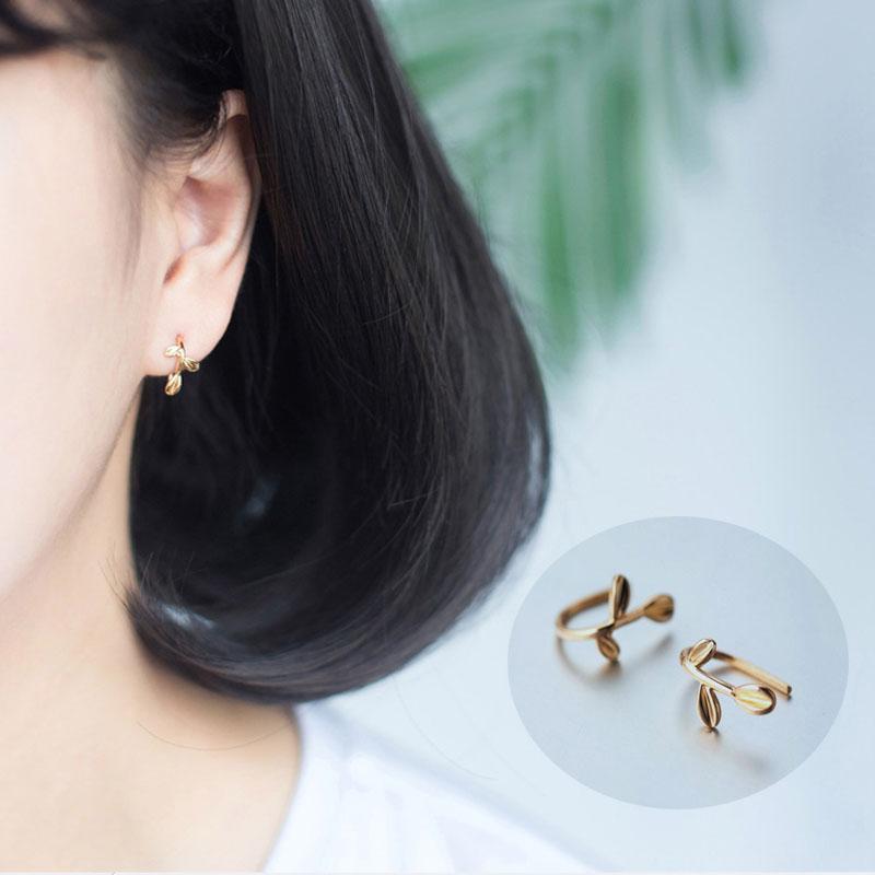 1 Pair Leaves Earrings 925 Silver For Women Ear Rings Clip-on Silver/Gold Female Jewelry Hoop Earring Fashion Design Hoops