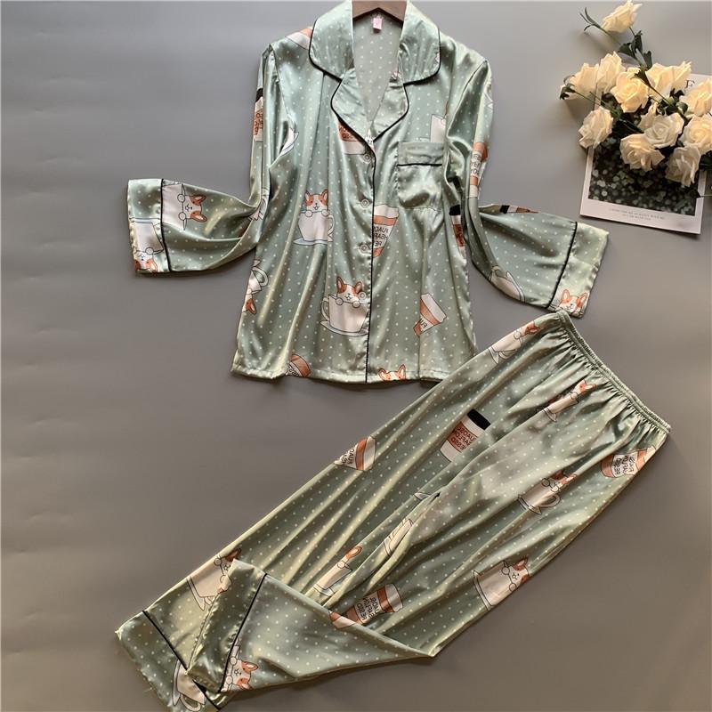 Primavera manga comprida Noite Ternos Mulheres Doce Segredo cópia bonito Pijama confortável conjunto Rayon Pijamas Duas Mulheres Pedaço