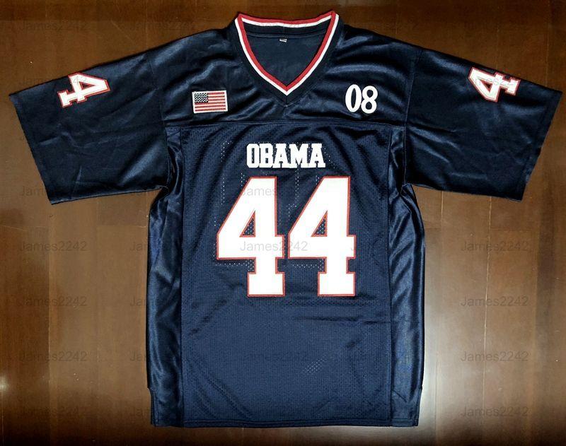 M. LE PRÉSIDENT N ° 44 Barack Obama 44ème US AMERIQUE JERSEY JERSEY JERSEYS NAVE Bleu S-3XL de haute qualité