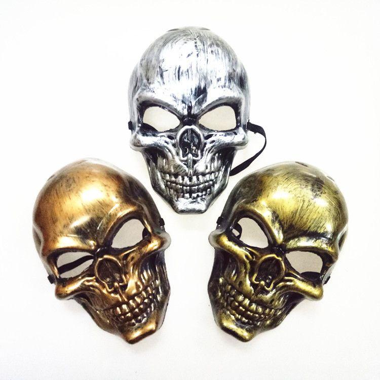 Хэллоуин взрослых Череп маски Пластиковые Дух Horror Маска Золото Серебро Череп маски для лица мужской Halloween Masquerade партии Маски Prop DBC VT0943