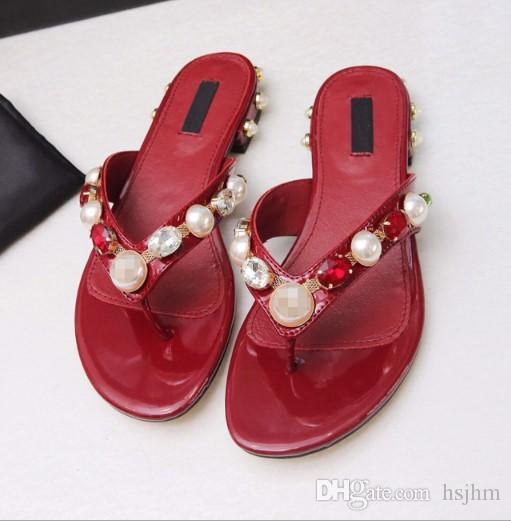2020 мода шлепанцы на низком каблуке из натуральной кожи тапочки горный хрусталь слайды удобные стринги Женские сандалии Женские жемчужные туфли размер 35-43