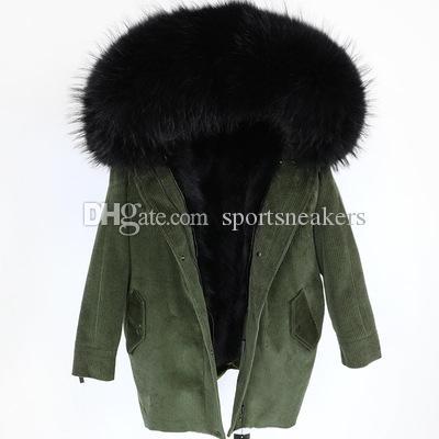 Nouvelle arrivée veste en velours côtelé avec doublure amovible en fourrure de raton laveur