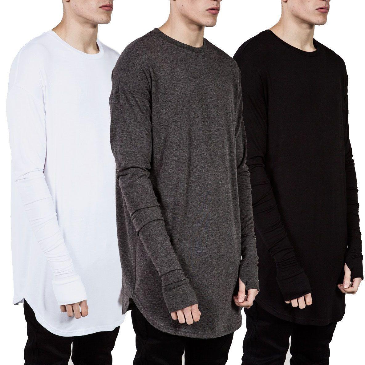 2019 New Trends Men T shirts Super Longline Long Sleeve T-Shirt Hip Hop Arc hem With Curve Hem Side Zip Tops tee