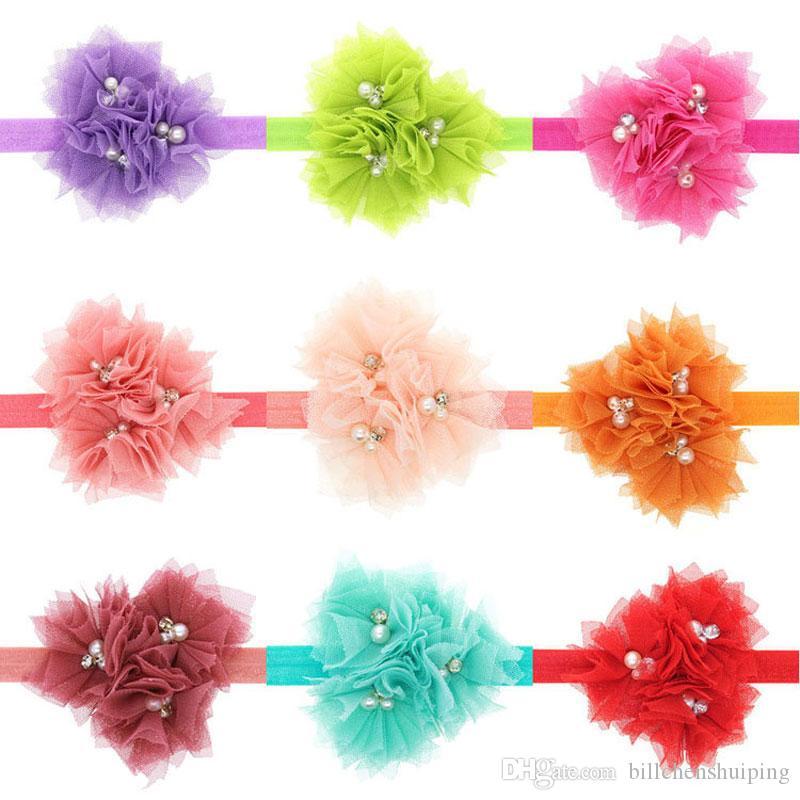 Venda quente New Baby Girls Headband Doce Cor 3 Flores de Renda Elástica Hairband Crianças Crianças Headwear Faixas de Cabeça Acessórios Para o Cabelo