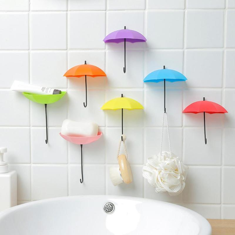 3pcs Umbrella Ganchos de parede Decor Cabide Key rack Titular Banho Cozinha Organizer