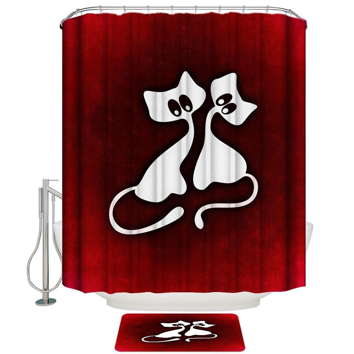 Valentine Cat Love Couple Red Cloth Background Shower Curtain Set and Anti-slip Floor Mat Outdoor Rugs