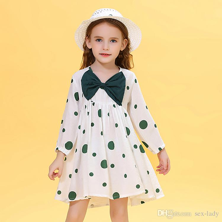 Marque Designer Filles Robe Vêtements pour enfants 2020 Nouveau printemps Baby Girl Princess Dress Big Bow manches longues robe de vacances + Chapeau 2PCS