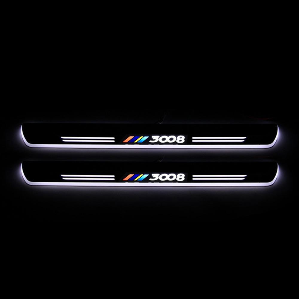 Hareketli LED Karşılama Pedal Araç itişme Plaka Pedal Eşiği Yolu Işık İçin Peugeot 3008 2013 - 2019