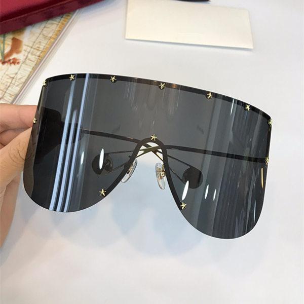 Especialmente diseñador exageración estilo gafas de sol 0488 gran cuadrado Sin marco tendencia vanguardista gafas de gama alta anti-UV400 gafas con estuche
