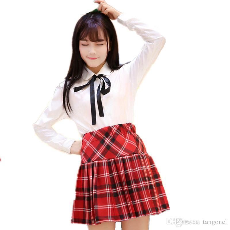 School Uniform Sailor Suit For Girls Student Japan College School Uniform White Shirt + Plaid Skirts Cosplay Costumes Women