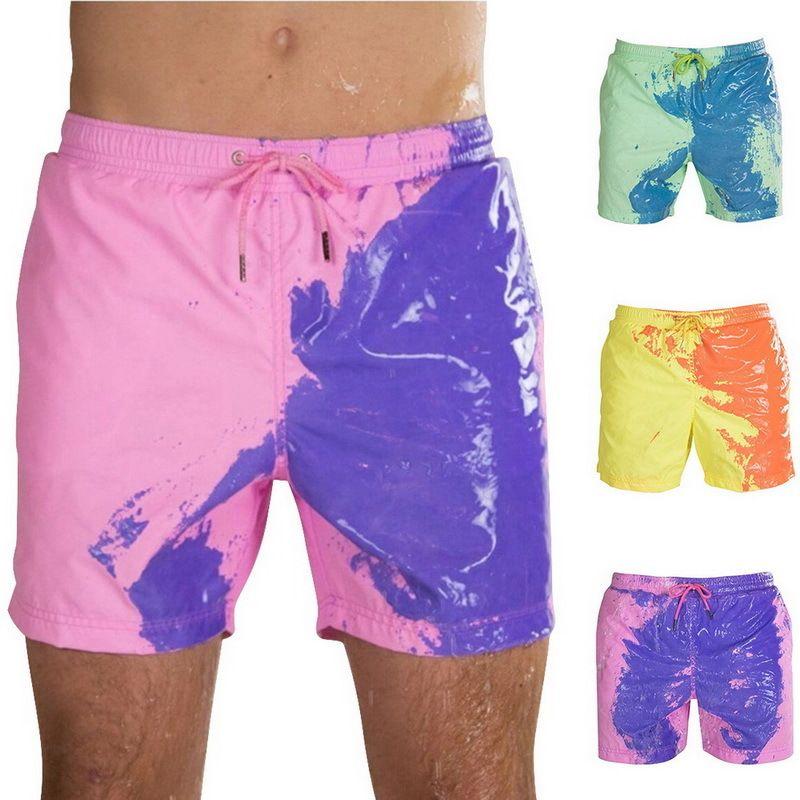 Büyülü Değişim Renk Plaj Şort Yaz Erkekler Swim Sandıklar Mayo Mayo Taşınabilir Moda Renkli Şort Yüzme Bezi T200605 değiştirme