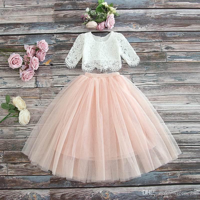 Vieeoease Girls Set Flower Kids Clothing 2019 Summer Lace Top + Tulle Skirt Children Outfits 2 pcs CC-306