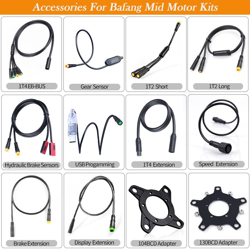 Bafang BBS01B BBS02B Electric Bicycle Parts Electric Bicycle Conversion Kit Gear Sensor USB cable 6V headlight 1T2 cable